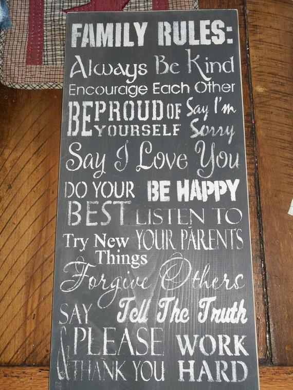 Items similar to Family Rules Primitive Farmhouse Sign on Etsy