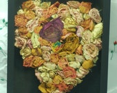 Real Dried Roses Heart Shadow Box Frame Wall Decoration