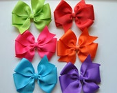 Hair bows,MEDIUM 3 inch Hair Bows, Girls hair bow, toddler hair bows, Non slip bows, 6 PIECE SET-Girls Hair bows-Tropical Summer Set