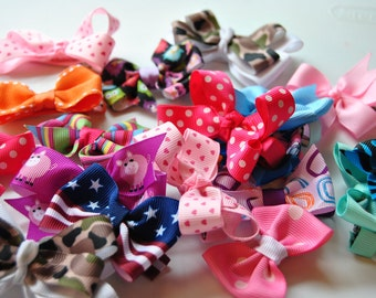 Hair Bow GRAB BAG-5 MINI hair bows-Infant hair bows, Baby Hair bows, Toddler Hair Bows