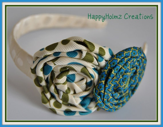 Double Rosette Headband -The Judith Collection...Back 2 School SALE- everything 5.00 dollars or less