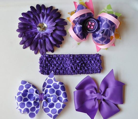 5 piece set-2 Hair bows,1 stacked Boutique Bow,Daisy Flower and crochet headband-Girls Hair bow, Birthday Gift,