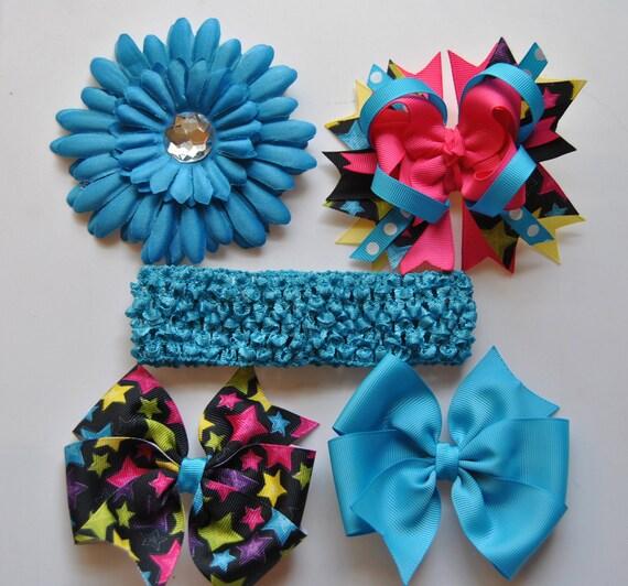 Girls Summer Fun Boutique Bow Set,5 Piece set, Toddler Hair Bow, Girls Hair bow, Hot Pink,Turquoise,Black