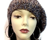 Hand Knitted Blue and Brown Toned Chunky Beret
