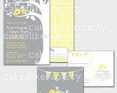 Printable Wedding Invitations - Grey & Yellow Birds - Cakes Likes A Party
