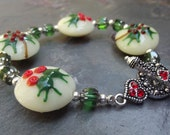 Black Friday Free Shipping - Holiday Jewelry - Christmas Holly Bracelet - Lampwork Glass - Cyber Monday Etsy Free Shipping Etsy