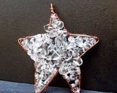 Christmas Star Ornament - Copper Wire Wrapped Clear Glass - Holiday Decor