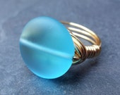 Sea Glass Ring:  Sky Blue Gold Wire Wrapped Ring, Beach Glass Jewelry, Size 7.5, Custom Size