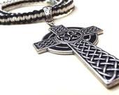 Black & White Hemp Necklace:  Handmade Braided Cord Macrame, Celtic Cross Unisex Men's Jewelry