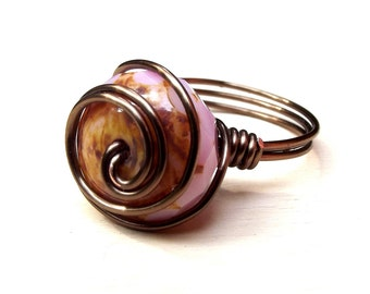Pink and Brown Ring:  Antiqued Brass Wire Wrapped Swirl Ring, Blush Soft Rose Opal Stone, Size 8, Custom Size