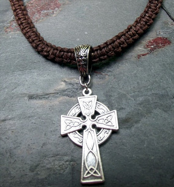 Men's Necklace:  Handmade Braided Cord Unisex Necklace with Celtic Cross Pendant Chocolate Brown Earthy Bohemian Jewelry