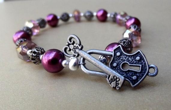 Skeleton Key Bracelet:  Plum Aubergine Pearl Jewelry  - Lock and Key Toggle Clasp