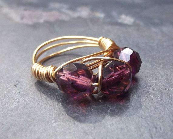 Purple Crystal Ring:  Brass Wire Wrapped, Deep Plum Fashion Jewelry, Size 7.5, Custom Size