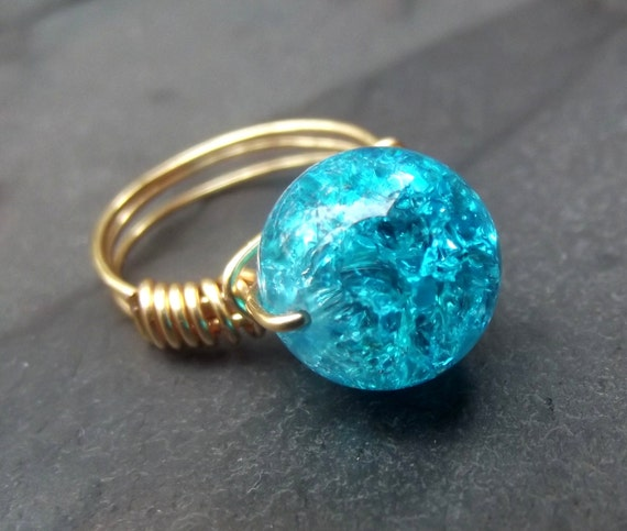 Crackle Glass Ring:  Ocean Blue Teal, Brass Wire Wrapped Ring, Size 7, Custom Size