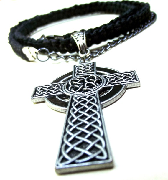 Men's Necklace:  Handmade Braided Cord Celtic Cross Necklace, Black Natural Hemp Necklace, Unisex Jewelry