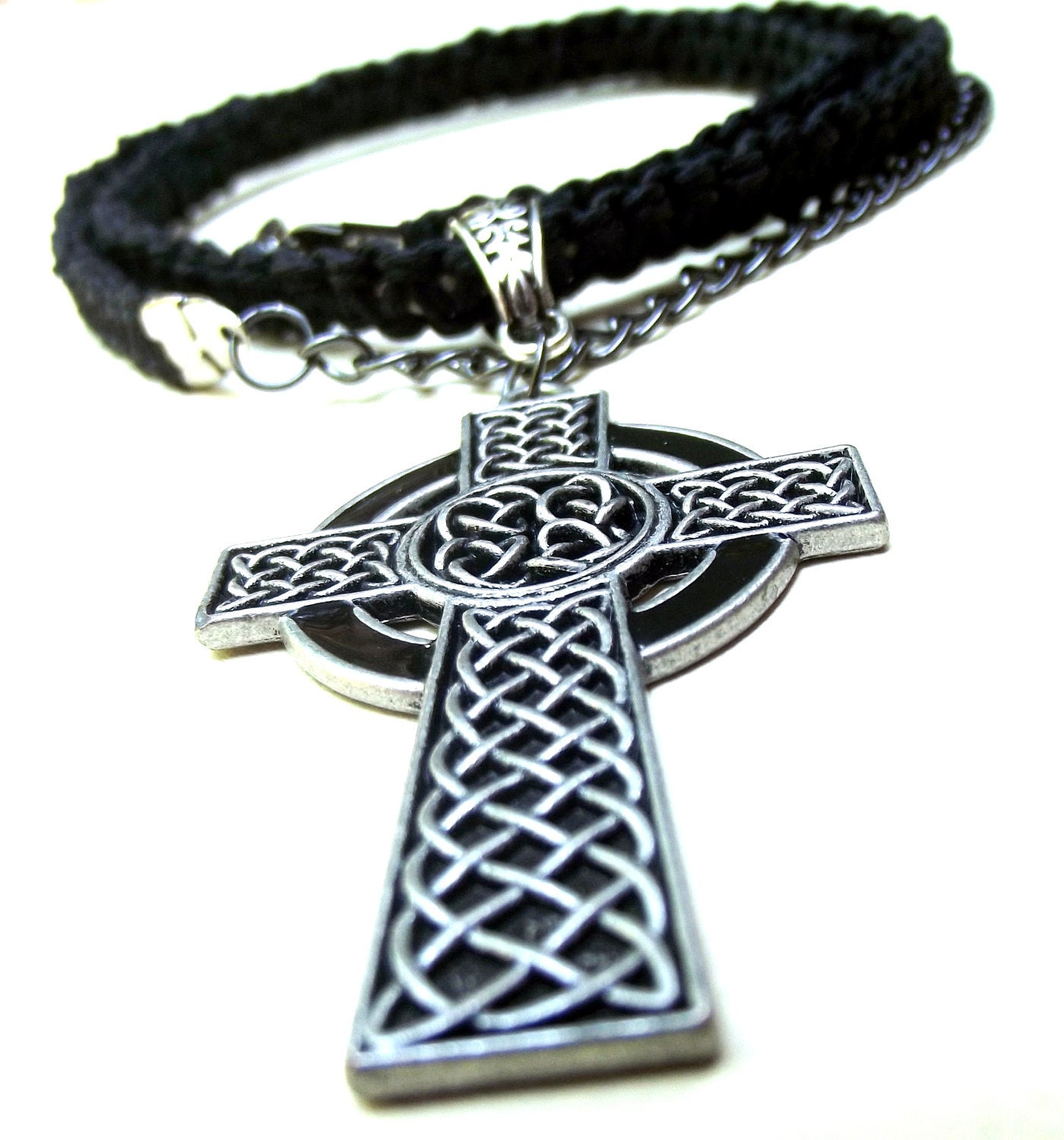 men 39 s necklace handmade braided cord celtic cross. Black Bedroom Furniture Sets. Home Design Ideas