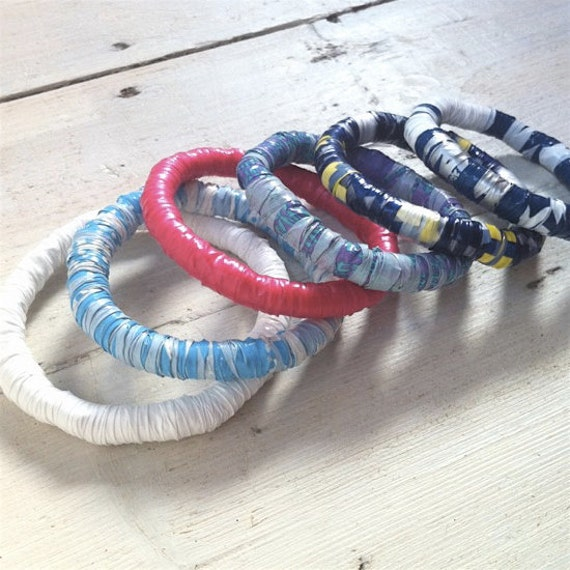 Items Similar To Recycled Bracelet Made From Plastic Bags