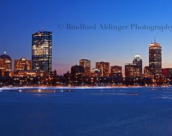 Boston Skyline on a Snowy, Winter's Eve - Photograph