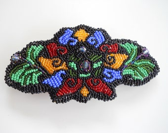 Intricate Floral Seed Beaded Hair Barrette