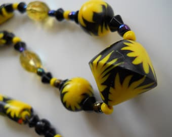 Retro Yellow Bloomin' Bursts on Black,  Hand Formed Polymer Bead necklace