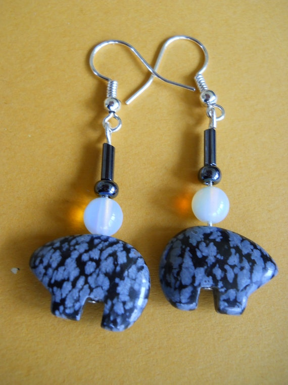Grey and Black Stone Carved Bear Earrings