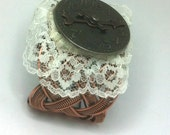 SALE Chrononaut's Cuff Bracelet I Metal clock face on metal cuff with lace