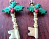 SALE Holiday Cheer - Dangle Earrings with Mistletoe and Brass Key charms