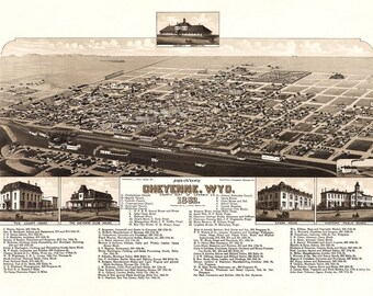 Vintage Map - Cheyenne, Wyoming 1882