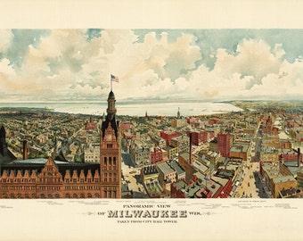 "Vintage Map - Milwaukee, Wisconsin 1898 - Large Size 23"" X 66"""