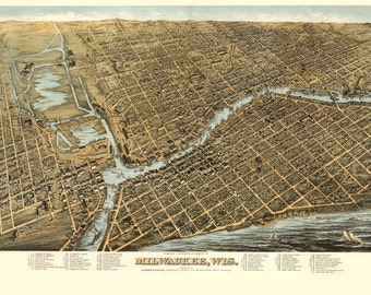 Vintage Map - Milwaukee, Wisconsin 1872