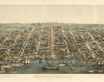 Vintage Map - Alexandria, Virginia 1863