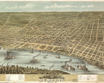 Vintage Map - Memphis, Tennessee 1870