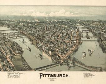 Vintage Map - Pittsburgh, Pennsylvania 1902