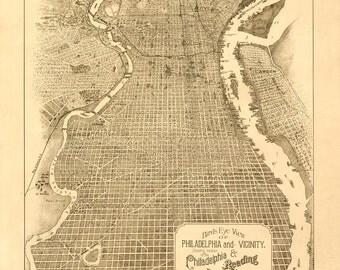 Vintage Map - Philadelphia, Pennsylvania 1870