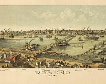 Vintage Map - Toledo, Ohio 1876