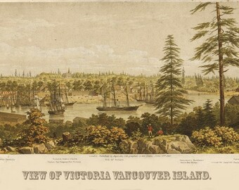 Vintage Map - Victoria, British Columbia, Canada 1860
