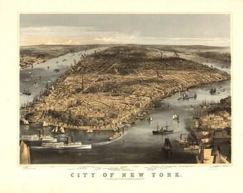 Vintage Map - New York, New York 1856