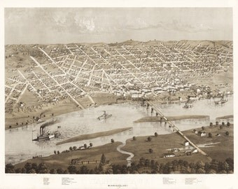 Vintage Map - St Paul,  Minnesota 1867