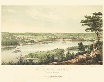 Vintage Map - St Paul,  Minnesota 1853