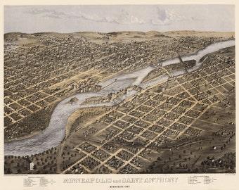 Vintage Map - Minneapolis - St Anthony, Minnesota 1867