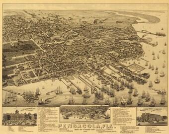 Vintage Map - Pensacola, Florida 1885