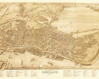 Vintage Map - Portland, Maine 1876