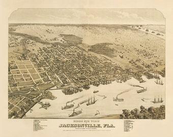 Vintage Map - Jacksonville, Florida 1876