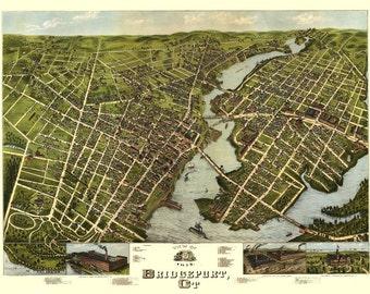 Vintage Map - Bridgeport, Connecticut 1875