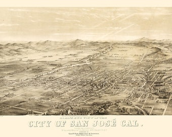 Vintage Map - San Jose, California 1869