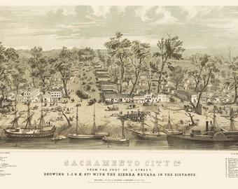 Vintage Map - Sacramento, California 1850