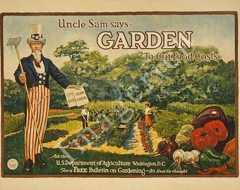 World War 1 Poster - Garden to cut food costs