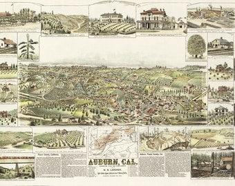 Vintage Map - Auburn, California 1888