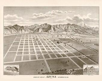 Vintage Map - Azusa, California 1887