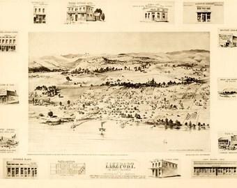 Vintage Map - Lakeport, California 1888